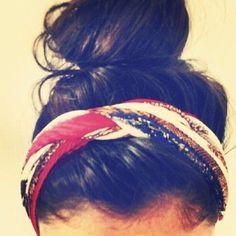Braided scarf headbands + messy buns.
