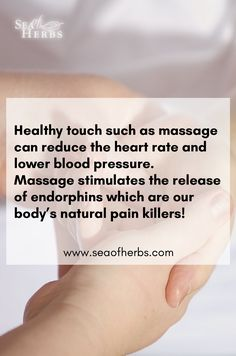 Healthy touch such as massage can reduce the heart rate and lower blood pressure. Massage stimulates the release of endorphins which are our body's natural pain killers! Check out our massage oils and creams at seaofherbs.com    #massage #massageoil #massagebutter #massagebenefits #holistictherapy #ayurveda #healthandwellness #seaofherbs #jerusalem #palestine #theoldcity