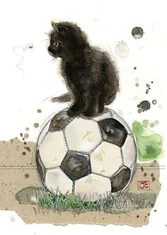 Football Kitten by Jane Crowther for Bug Art greeting cards.