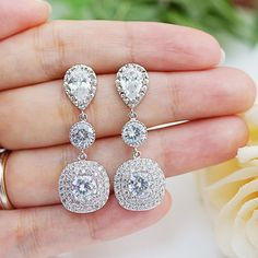 Cubic Zirconia Bridal Earrings Wedding Jewelry por earringsnation