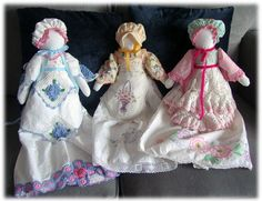 I have always wanted to make dolls from vintage pillowcases, but they are hard to find. Luckily I found 3 at SAFF last year. I finally got around to making the dolls and had so much fun dressing them. The dolls themselves are made from a pillowcase we got as a wedding gift over 40 years ago. The…