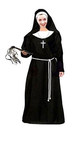 NUN COSTUME LADIES BLACK HABIT CROSS RELIGIOUS FANCY DRESS SUPERIOR CHURCH