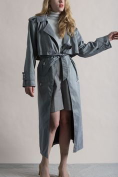 Vintage 80s Gray Trench Coat with Removable Lining