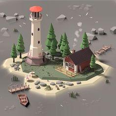 Low Poly Island, Matthias Jessen – see Game Environment, Environment Concept Art, Environment Design, Modelos Low Poly, Modelos 3d, Isometric Art, Isometric Design, Blender 3d, Game Design
