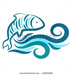 Fish and water waves silhouette vector Ship Silhouette, Silhouette Vector, Water Waves, Paint By Number, Line Art, Royalty Free Stock Photos, Guy, Sewing, Beach