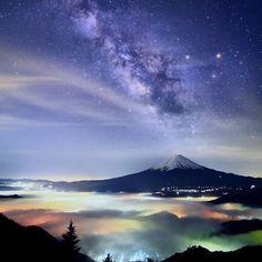 *** @tokyocameraclub on Instagram: Stars over Mt Fuji (Japan) by @hashimuki