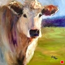 """Country Gal by Norma Wilson Oil ~ 18"""" x 18"""".... love the light, blue skies and spring green pasture in this one..."""