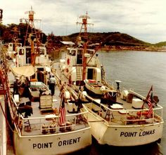 """Photo tag:""""...""""DA NANG, VIETNAM -- Commandant's inspection and where 82-footers tie up. (ADM E. J. Roland, USCG, and Assist' Sec. Reed.)"""" No photo number; 24 July 1965; Nichols, PH1, USCG, photographer...."""" Fro mthe coast Guard in Vietnam site: http://www.uscg.mil/history/uscghist/VietnamPhotoIndex_B.asp via ~ The NAM (tag cred ~ Bob B.)"""