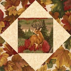 Our quilt kit is already precision pre-cut for accuracy. This easy to sew nature quilt kit features fussy cut realistic deer, tree leaves in various colors and a creamy beige blender. This quilt kit i Quilting Projects, Quilting Designs, Quilting Ideas, Quilting Templates, Quilting Tutorials, Sewing Projects, Quilt Block Patterns, Quilt Blocks, Wildlife Quilts