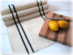 14 x 58 Ivory Burlap Table Runner with Black by HomesteadBurlaps, $32.00