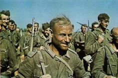 German infantry marching during the first phase of Operation Barbarossa, June-July 1941. The Russian summer can be hot way above what an average German is used to. The expressions on the faces of the troops tell the story.