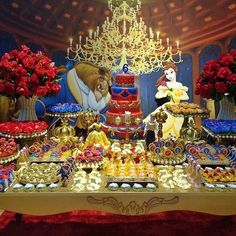 The Beauty and the Beast Birthday Party Ideas / Festa A Bela e a Fera Beauty And Beast Birthday, Beauty And The Beast Theme, Beauty And Beast Wedding, Beauty And The Best, Disney Beauty And The Beast, Sweet 16 Themes, Sweet 16 Decorations, 16th Birthday, 1st Birthday Parties