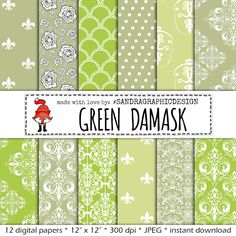 "New to SandraGraphicDesign on Etsy: Green digital paper: ""GREEN PAPER"" with various damask pattern background paper in the color green (1011) (3.75 USD)"