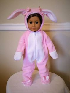 This adorable bunny suit is perfect for your beautiful 18 inch doll or American Girl doll to dress up in for holiday. Perfect for Easter, Halloween, Christmas or anytime. Makes adorable pajamas. Happy Bunny has been updated to include little ears and a pom pom nose on each footie. Fabric
