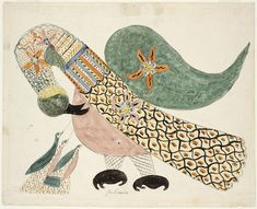 From RISD Museum, Mary Ann Wilson, Pelican with Young (ca. Watercolor and pen and ink on paper, 12 × 16 in Illustrations, Illustration Art, Dragons, Art Brut, Outsider Art, Grafik Design, Art World, Collages, Folk Art