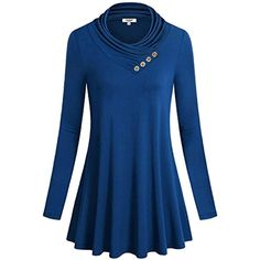 89af4110715c0 Women's Cowl Neck With Buttons Long Sleeve A Line Flared Hem Tunic Blouse  Tops * You