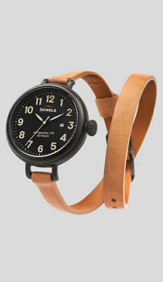 leather double wrap watch //