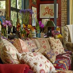 bohemian interior design | bohemian mix of patterns and fabrics