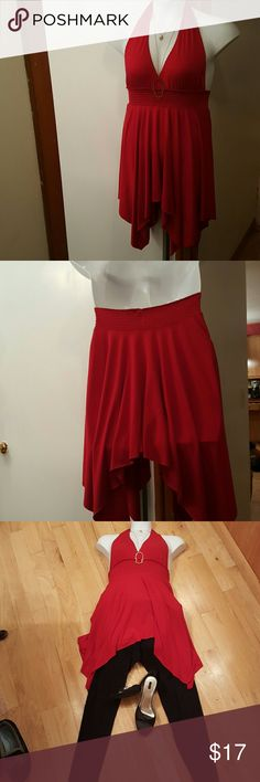 Red Halter Tunic Great layering item. Beautiful bluish red long halter shirt. Tips of handkerchief hem hit at the knees. Perfect to wear with black leggings or skinny jeans. Can convert to great summer attire with white shirt shorts. Fits true to size, large, but smoking around the back allows it to fit XL as well. Tops Tunics