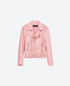 Zara Pink Leather Jacket - Madison's choice for her winter to spring outfit. Outerwear Women, Outerwear Jackets, Women's Jackets, Biker Jackets, Cuir Rose, Foto Blog, Faux Leather Jackets, Jacket Style, Look Cool