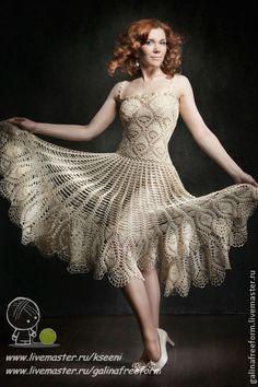 """Платье """"Маркиза"""" - бежевый,платье на выпускной,вязаное платье,платье крючком"""