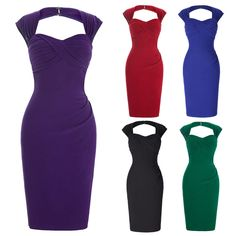 Cheap Women Wear To Work Skirt Vintage Solid Color Pencil Cocktail Bodycon Dress