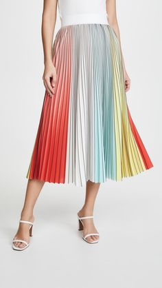 Fabric: Mid-weight, non-stretch weave Rainbow stripes Allover pleating Midi length Zip at back Shell: polyester Trim: elastane Unlined Dry clean Imported, China Measurements Measurements from size 0 Length: / Rainbow Outfit, Rainbow Fashion, Rainbow Clothes, Fashion 2020, Ladies Fashion, Women's Fashion, Pleated Midi Skirt, China Fashion, Everyday Look