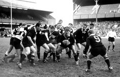 Colin Meads, ball in hand, v Barbarians, Twickenham 1967. The other ABs are l to r: Ken Gray, Brian Muller, Sam Strahan, Kel Tremain, Waka Nathan, and Chris Laidlaw (half back)
