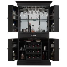 Finished in Black with Brushed Steel hardware, this bar comes with stemware holders, pull-out racks, back glass, an electrical outlet, two storage drawers, piano hinges, swinging cabinet doors, and multiple lights above the stemware holders.