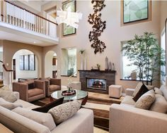 Large Wall Decor Living Room Ideas High Ceilings Open Spaces