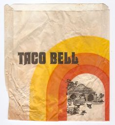 Vintage Taco Bell Bag- worked here in the 70's, where you wrote down  orders on an overhead board with a white grease pen.
