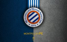 Download wallpapers Montpellier FC, FC, 4K, French football club, Ligue 1, leather texture, logo, emblem, Montpellier, France, football, Montpellier HSC