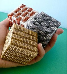 Plastic Canvas Minecraft by CraftyPod. - Sized right these would make great switchplate covers for that one of a kind look.