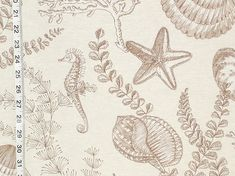 Seahorse fabric ocean reef brown toile from Brick House Fabric: Novelty Fabric