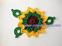flores em croche girassol com edinir-croche aprender em croche com receita