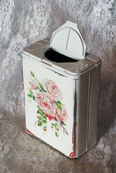 shabby chic Repurposed Crafts | repurposed pepper tin box shaker shabby chic white wash pink roses ...