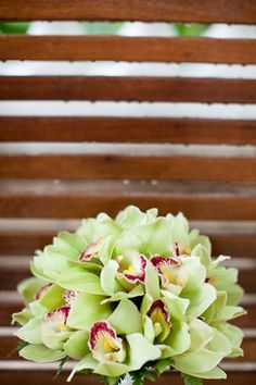 green orchid bouquet This is stunning! Repined by Sandra's & Donath's Flowers in #NYC #green #bridal