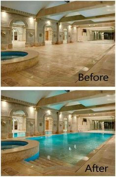 I know how this works! The floor sinks down to reveal a pool underneath. The water runs up from cracks in the sides. Wow!