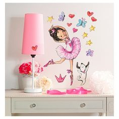 """Twirl like a ballerina and let your creative side come through with Wallies Ballerina Big Wall Stickers. Each package comes with 1 ballerina 15¾"""" x 19¾"""", 1 dog 3¾"""" x 7"""" and assorted star, butterfly and heart stickers. Every Wallies Peel & Stick design is made of durable, self-adhesive backed vinyl that can be removed and repositioned easily. To use, simply peel the pieces off of the backing in the package and apply to any clean, smooth surfac..."""