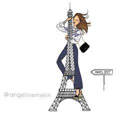 Bonne soirée IG ! 🌙  #illustration by #angelinemelin #drawing#paris#toureiffel#eiffeltower#parisienne#chanel @chanelofficial @toureiffelofficielle