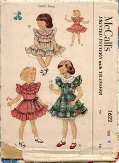 1950s Childs Dress Pattern McCalls 1622 Girls Party Dress Ruffle Collar. $10.00, via Etsy.