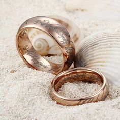 """Couple's Rose Gold Plating """"The Lord of the Rings"""" Tungsten Rings Wedding Band Set - Tungsten Republic"""