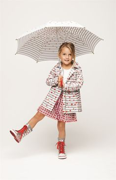 Flowers and stripes add a modern twist to the classic rain coat.
