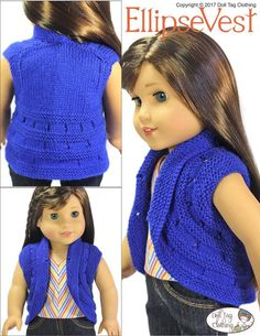 The Doll Tag Clothing Ellipse Vest 18 inch Doll clothes knitting pattern. Available from Pixie Faire. Knitting Dolls Clothes, Knitted Dolls, Doll Clothes Patterns, Doll Patterns, Clothing Patterns, Knitting Patterns, Knit Vest Pattern, Shrug Pattern, Our Generation Doll Clothes
