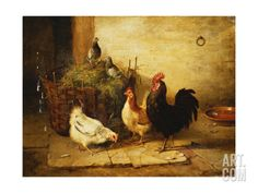 Poultry and Pigeons in an Interior, 1881 Stretched Canvas Print by Walter Hunt at Art.com