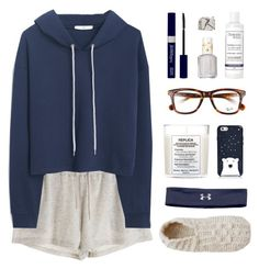"""""""Lazy Day"""" by amazing-abby ❤ liked on Polyvore featuring Ray-Ban, MANGO, Maison Margiela, Kate Spade, Surratt, Essie, Christophe Robin, Under Armour and Toast"""