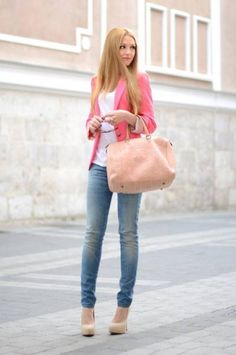 pink blazer, white shirt, blue jeans and nude pumps
