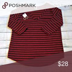 PLUS SIZE Burgundy 3/4 Sleeve Top w/ Black Stripes Burgundy 3/4 Sleeve Top w/ Black Stripes Fits true to size Fabric Content: 95% POLYESTER 5% SPANDEX Tops Blouses