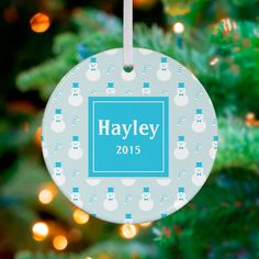 Snowmen and Candy Canes Personalized Ornament by House