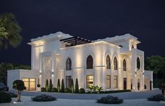 White Modern Islamic villa exterior design 3-Modern windows on the ground floor along with pointed arched ones on the first floor seamlessly create the modern Islamic design style by Comelite Architecture Structure and Interior Design, white stone with geometric patterns covering the exterior façade, double height horseshoe arches distinguish the villa entrances, reflecting the hospitality of the Arabian culture.
